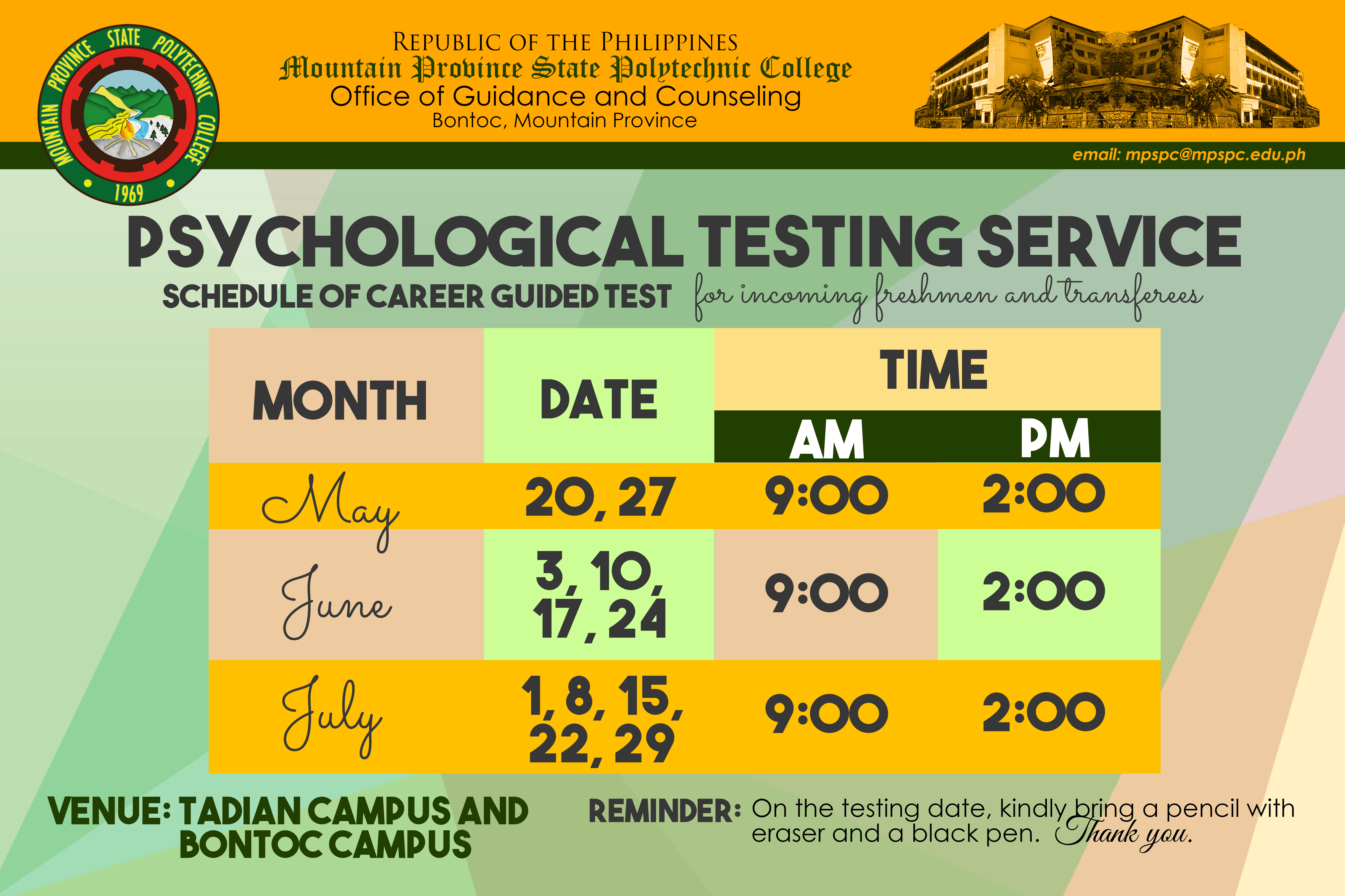 Schedule of Career Guided Test for Incoming Freshmen and Transferees