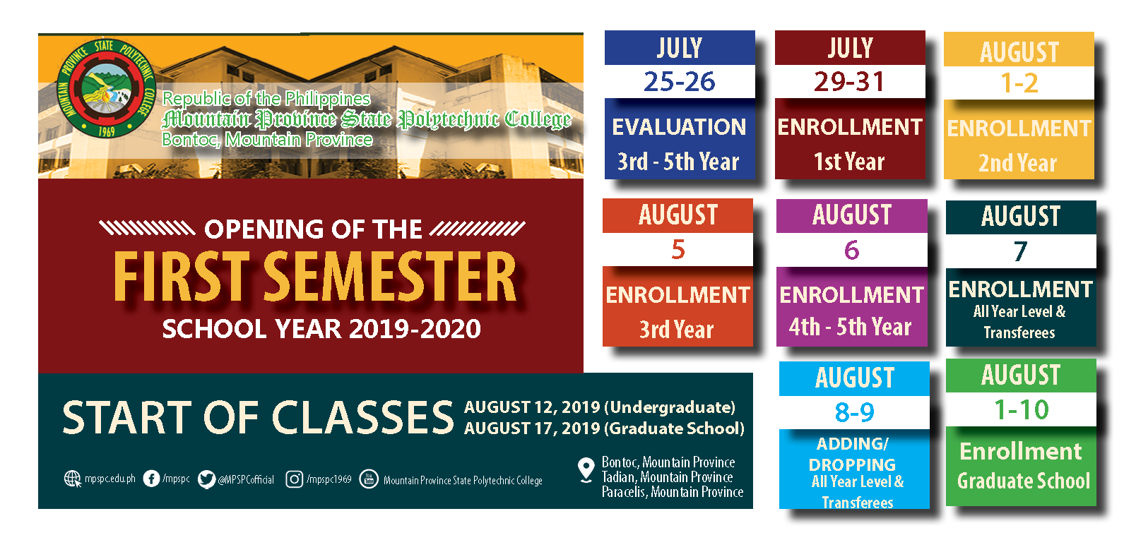 Enrollment Schedule for First Semester SY 2019-2020