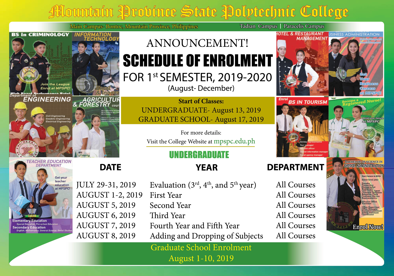 Enrolment Schedule for 1st Semester 2019-2020