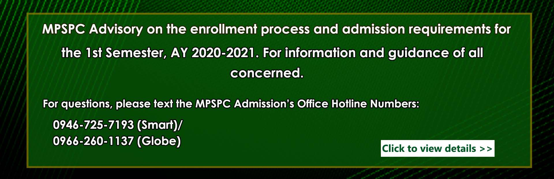 MPSPC Advisory on the enrollment process and admission requirements