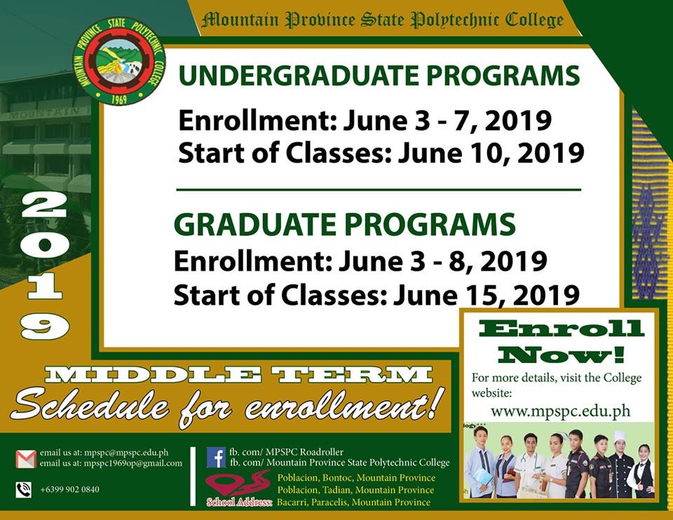 Enrollment Schedule for Middle Term 2019
